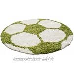 Kinderteppich für Kinderzimmer Fussball Form Hochflor Teppich Grün-Weiss 120x120 cm Rund
