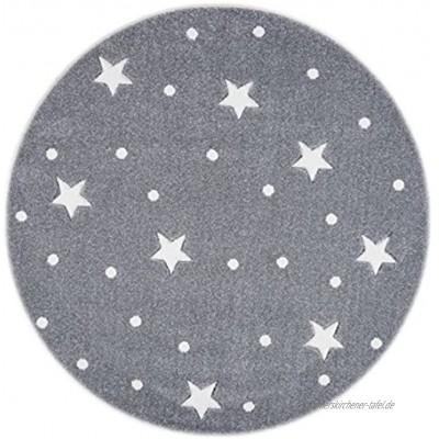 Livone Kinderzimmer Baby Teppich Kinderteppich Punkte Sterne Silber grau Weiss Größe 133 cm rund