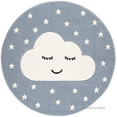 Livone Kinderzimmer Baby Teppich Kinderteppich Wolke Sterne blau Weiss 133 cm rund