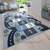 Paco Home Kinder-Teppich Für Kinderzimmer Spiel-Teppich Mit Hüpfkästchen und Straßen Grau Grösse:120x160 cm