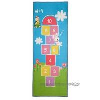 Relaxdays Kinderteppich Hüpfspiel 180 x 70 cm 10 Hüpfkästchen Kurzflor gummierte Unterseite Spielteppich bunt 1 Stück