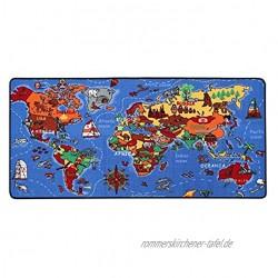 Spielteppich Lernteppich für Kinder Weltkarte 95x200 cm Spielmatte Anti-Schmutz-Schicht Kinderzimmerteppich mit Karte