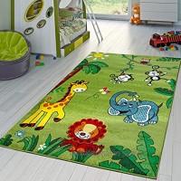 TT Home Moderner Kinderzimmer Teppich Zoo Tiere Elefant Giraffe Löwe AFFE Eule In Grün Größe:120x170 cm