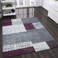 VIMODA Teppich Kurzflor in Lila Grau Weiß Maße:200x290 cm