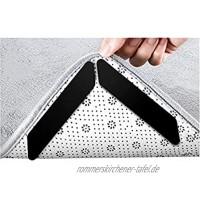 BBVS Teppich-Eck-Teppichgreifer Anti-Curling-Rutschfester Teppichstopper,Wiederverwendbare Teppichgreifer für Holz- und Hartböden Waschbare Teppichauflagenschwarz 30*180mm 8 Stück
