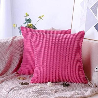 Artscope 2er-Set Dekorativ Kissenbezüge 45 x 45 cm Weicher Kordsamt Kissenbezug Reine Farbe Großer Mais Kissenhülle Set Kissen Fall für Sofa Auto Schlafzimmer Zuhause Zierkissenbezüge Pink