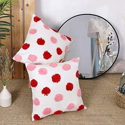 Deconovo 100% Baumwolle Kissenbezug Getuftete Kissenüberzug Dekoration Zierkissenbezug Wohnzimmer 45x45 cm Pink und Rot 2er Set