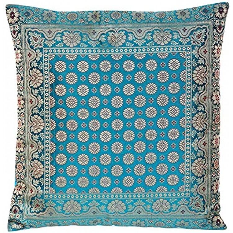 Ruwado Türkis Seide Kissenbezug | Zierkissenbezug | Sofakissenbezug | Dekokissen | Zierkissen | Kissenhülle 40 cm x 40 cm ***Handgewebt und Handgefertigt von Kunsthandwerkern aus Kaschmir-Indien***