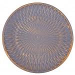 Flanacom Premium Dekoschale aus Holz Tisch-Deko mit Verzierungen Design Holz-Schale Wohnaccessoires Robustes Deko-Tablett Obst-Schale Moderne Deko Wohnzimmer ca. 28 x 28cm Grau Gold