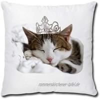 TRIOSK Kissen mit Katzenmotiv lustig Katze Prinzessin Dekokissen Geschenk für Katzenliebhaber Frauen Mädchen Kinder Zierkissen Füllung 40x40 Weiß Beige