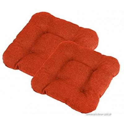 chilly pilley Stuhlkissen mit Schlaufen Set gesteppt Küche Kissen viele Größen Stuhlauflage Stuhlpolster Dekokissen viele Farben 2X Kissen 45x45. Orange