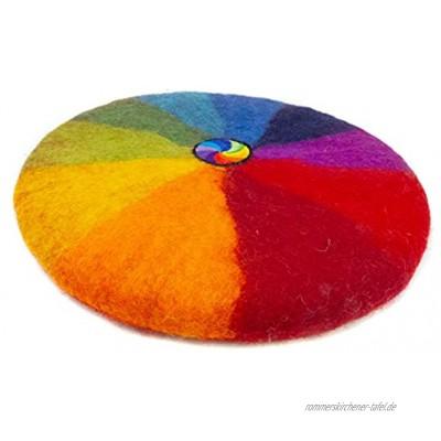feelz Filzkissen Sitzkissen rund Filz Regenbogen Spirale bunt 100% Wolle 35 cm Höhe 2-3 cm Handarbeit