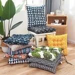 Nicole Knupfer 2er Set Stuhlkissen 40 45 cm Baumwolle und Leinen Sitzauflage Sitzkissen Gartenstuhlkissen Polster für Garten Balkon Terrasse Tatami Blau,40 x 40 cm