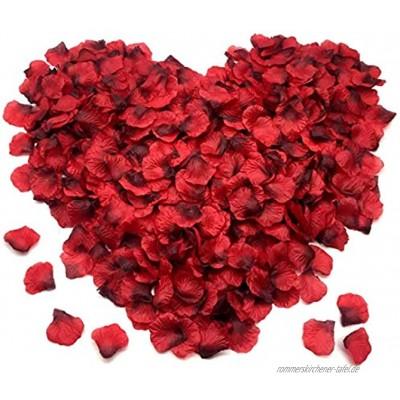 FUJIE 1200 Stück Rosenblüten Seide Rosenblätter Kunstblumen Konfetti für Romantische Atmosphäre und Hochzeit Valentinstag Party Dekoration