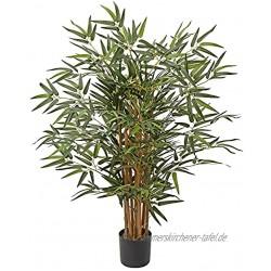Bambus Kunstpflanze Kunstbaum Künstliche Zimmerpflanze mit Echtholzstamm im Zementierter Basistopf Balkon Terrasse Sichtschutz Bambus Höhe: 3 Feet 91CM