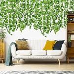 Efeu Künstlich Girlande 12 Stück Grün Efeu künstlich im Topf Sichtschutz Hängend Pflanzen Efeuranke für Garten Hochzeit Party Wanddekoration Room décor