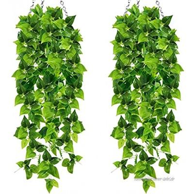 Künstliche Hängepflanzen Künstliche Grünpflanzenblätter Rebe Künstliche Pflanzen für Indoor Outdoor Hochzeitsgarten Wanddekoration