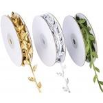 Künstliche Pflanzen Bänder Buchsgirlande Künstliche Blätter Blattband Künstliches Blatt Rebe für Hausgarten Hochzeit Party Dekoration 3 Rollen Gold Silber Grün