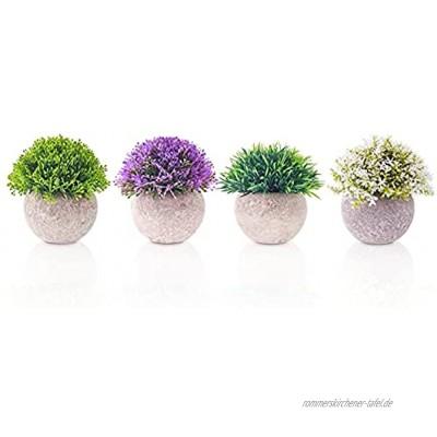 Kunstpflanze 4 Stücke Wintergarten Deko yoyoblue Pflanzen Künstlich Grüne Deko mit Grauem Topf für Badezimmer Deko und Tischpflanze Bad Deko Modern