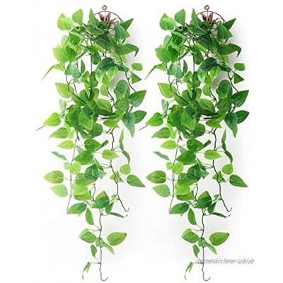 Mocoosy 2er Pack künstliche Hängende Pflanzen mit Körben gefälscht Hängende Blätter Künstliche Pflanzen Wand Hängende Efeu Grün Rebe für Haus Garten Zimmer Hochzeit Dekorationen -2 Körbe
