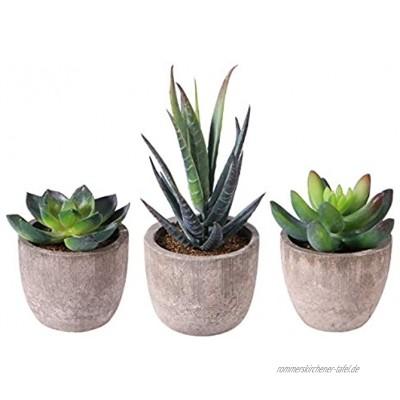 OUNONA 3 Stücke Faux Sukkulenten Bonsai Kaktus Blumentopf Künstliche Sukkulenten Pflanzen mit Töpfen Tischdeko Haus Balkon Büro Deko