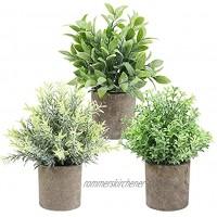 THE BLOOM TIMES Set mit 3 kleinen künstlichen Pflanzen in Töpfen für Heimdekoration im Innenbereich Mini-Grünpflanzen für Bauernhaus Badezimmer Büro Schreibtisch Tischregal Dekoration