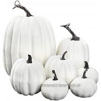 Nicejoy Künstliche Kürbisse Halloween Deko weiße Kürbis Deko Herbsternte Fake-Schaum-Kürbisse-Tabletop-Mittelstück 7 STÜCKE
