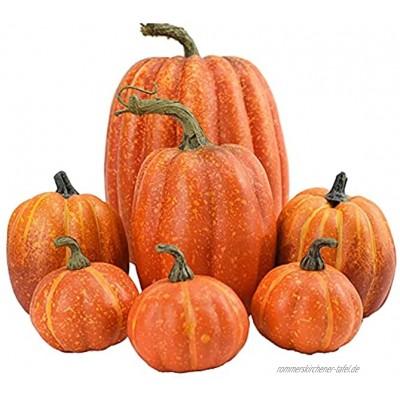 NICERAM 7pcs Künstliche Kürbisse Set Weiß Gelb Multi-Size Künstliche Ernte Kürbisse Herbst Ernte Dekoration Halloween Thanksgiving Party Decor