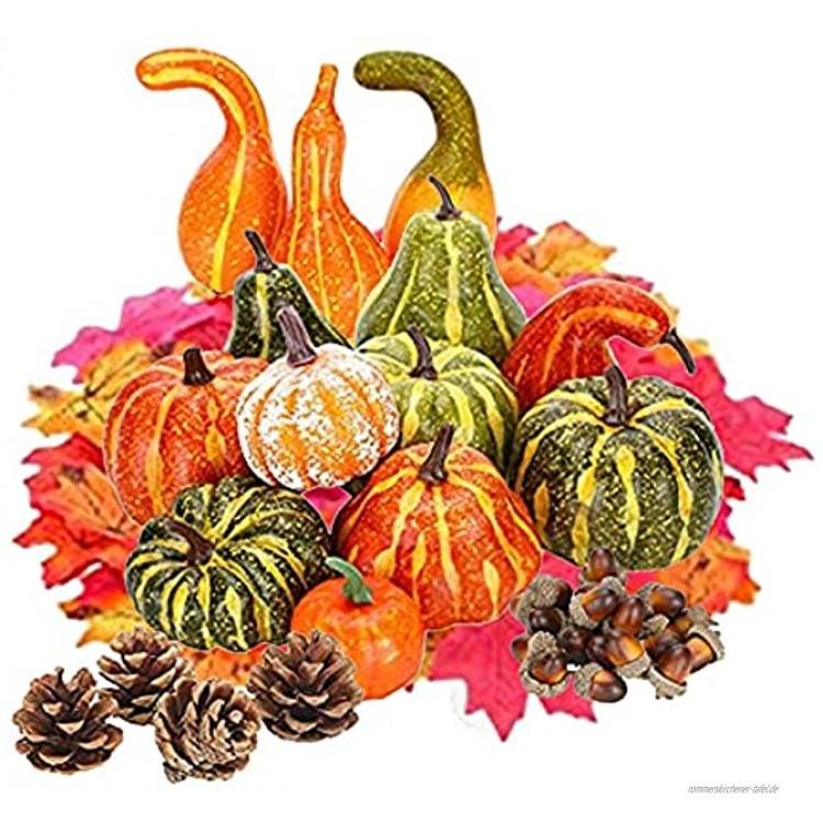 Pisamhid Künstliche Kürbisse Set 141 Tücke Gefälschte Kürbisse Deko Thanksgiving Künstliche Kürbisse Dekoration Set Halloween Herbst Ernte Dekoration Kürbisse Ornament Gefälschte Künstliches Gemüse