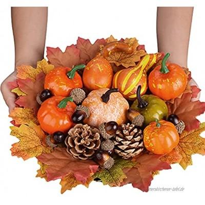 YSBER 100PCS Thanksgiving Künstliche Kürbisse Tischdekoration Set Kürbisse Ahornblätter Tannenzapfen Eicheln Gefälschte Kürbisse Künstliches Gemüse für Herbst Girlande Halloween Dekorationen.