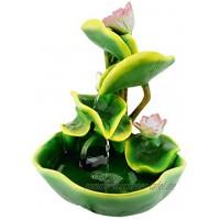 abc HOME living Seerosen dekorativ wirkt beruhigend Luftbefeuchter Polyresin Zimmerbrunnen Wasserlilien ca. 26 cm T x 27 cm B x 34 cm H