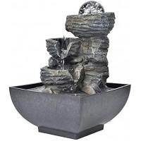 Caredy Tischbrunnen Elegante Harz Zimmerbrunnen Desktop-Brunnen Dekoration Innenwasserbrunnen Mit LED-Leuchten Home Tischplatte Landschaft Ornament Wasserfontänen Innen220V