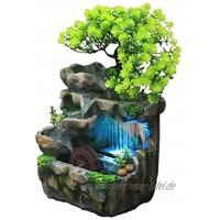 Chuanfeng Zimmerbrunnen Wasserfall Zimmerbrunnen Mit Beleuchtung Tischbrunnen Wasserbrunnen Für Zimmer Simulation Steingarten Luftbefeuchter Dekor 20 x 15 x 26 cm