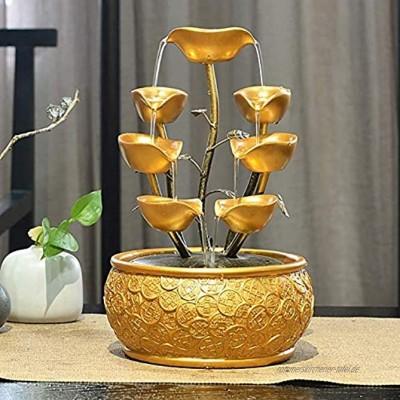 LFLYBCX 4 Schicht Gold Füllhorn Zimmerbrunnen Springbrunnen Polyresin Tischbrunnen Mit LED Beleuchtung Und Pumpe Luftbefeuchter Büroeinrichtung Gold 20 * 20 * 30cm