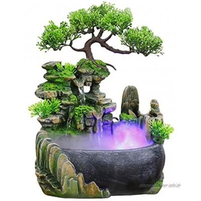 Mini Zimmerbrunnen Wasserfall Brunnen Indoor,Tisch Brunnen Wasserfall Tischbrunnen Zen Brunnen Meditation Mini Indoor Brunnen mit Beleuchtung Nebel Pflanzen LED Zimmerbrunnen,Geschenk Dekoration A