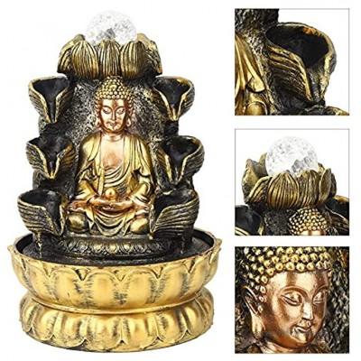 【Muttertagsgeschenk】 Buddha Brunnen Desktop Brunnen Dekoration Buddha Fließendes Wasser Ornament mit Licht und Kugel Dekor Tischbrunnen für Home Landscape Decoration1#