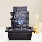 QIAOLI Tischbrunnen Tabletop-Brunnen-3-Tier-Innenwasserfall-Brunnen mit LED-Lichter Entspannung Zen-Meditation Umgebungsberuhigendes Kaskaden Zimmerbrunnen