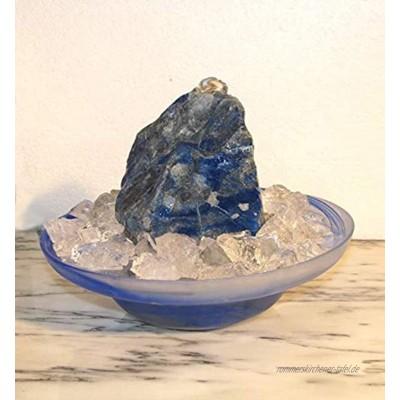 Troester's Brunnenwelt Zimmerbrunnen Lapis Lazuli mit Pumpe Licht und Bergkristall-Chips Quellstein aus echtem Lapis Lazuli Blue Note