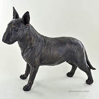 Bullterrier Bronze-Skulptur stehend 19 cm hoch groß