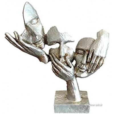 Fabnish Büste Deko Skulptur Abstrakte Kunst Statue Dekofigur Gesichter Farbe Silber mit Sockel 32 x 28 cm