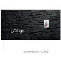 SIGEL GL407 Premium Glas-Magnetboard 91 x 46 cm mit LED-Beleuchtung Schiefer-Stone Magnettafel Artverum