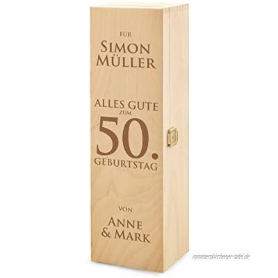 AMAVEL Casa Vivente Weinbox aus Holz Alles Gute zum Geburtstag Personalisiert mit Namen Verpackung für Weingeschenke
