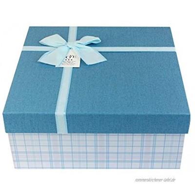 Emartbuy Starrer Geschenkbox 23,5 x 23,5 x 10 cm Weiße Checkered Box mit Blauem Deckel