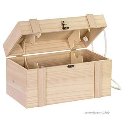 LAUBLUST Holzkiste für 4 Weinflaschen ca. 35x19x19cm Natur FSC® Weinkiste mit Deckel 2 Trageseile & Verschluss