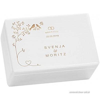 LAUBLUST Holzkiste zur Hochzeit Vogel-Pärchen Geschenkkiste Personalisiert mit Gravur 30x20x14cm Weiß FSC®