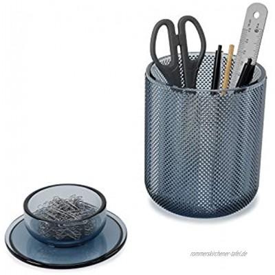Umbra Allira Büromaterial Aufbewahrungsbehälter dekorativer Glasbehälter Accessoire Organizer mit Deckel Blumenvase aus Glas Blau Regular