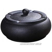 Dadahuam Aschenbecher aus Keramik mit Deckel Winddicht Aschehalter für Raucher Desktop Aschenbecher für Home Office Dekoration schwarz