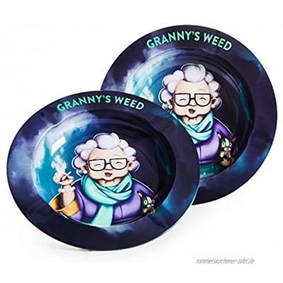 Granny's Premium Aschenbecher   2 Stück   Für draussen geeignet   Ascher aus Metall   Ideales Zubehör für Raucher