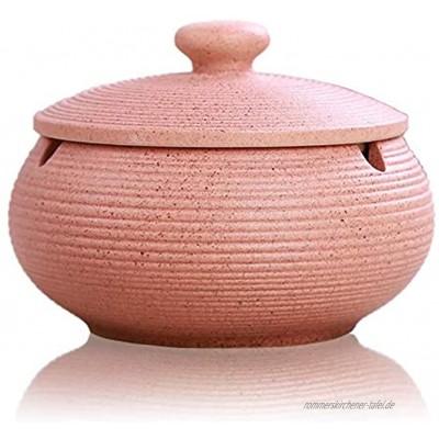 Lependor Aschenbecher aus Keramik mit Deckel winddicht Zigarettenaschenbecher für den Innen- oder Außenbereich , Aschenhalter für Raucher Desktop-Aschenbecher für die Inneneinrichtung Rosa