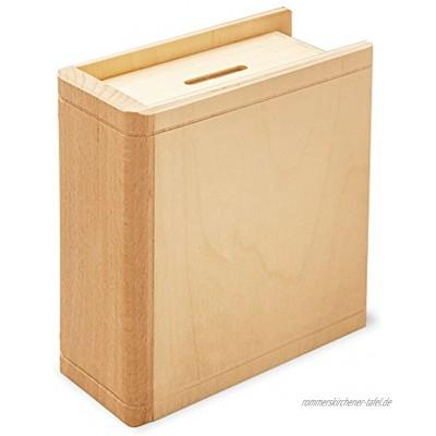 Casa Vivente Spardose Buch aus Holz Sparbuch als originelles Geburtstagsgeschenk für Geld Geldgeschenk-Sparbüchse aus Ahornholz 13,5 x 16,5 x 6,5 cm